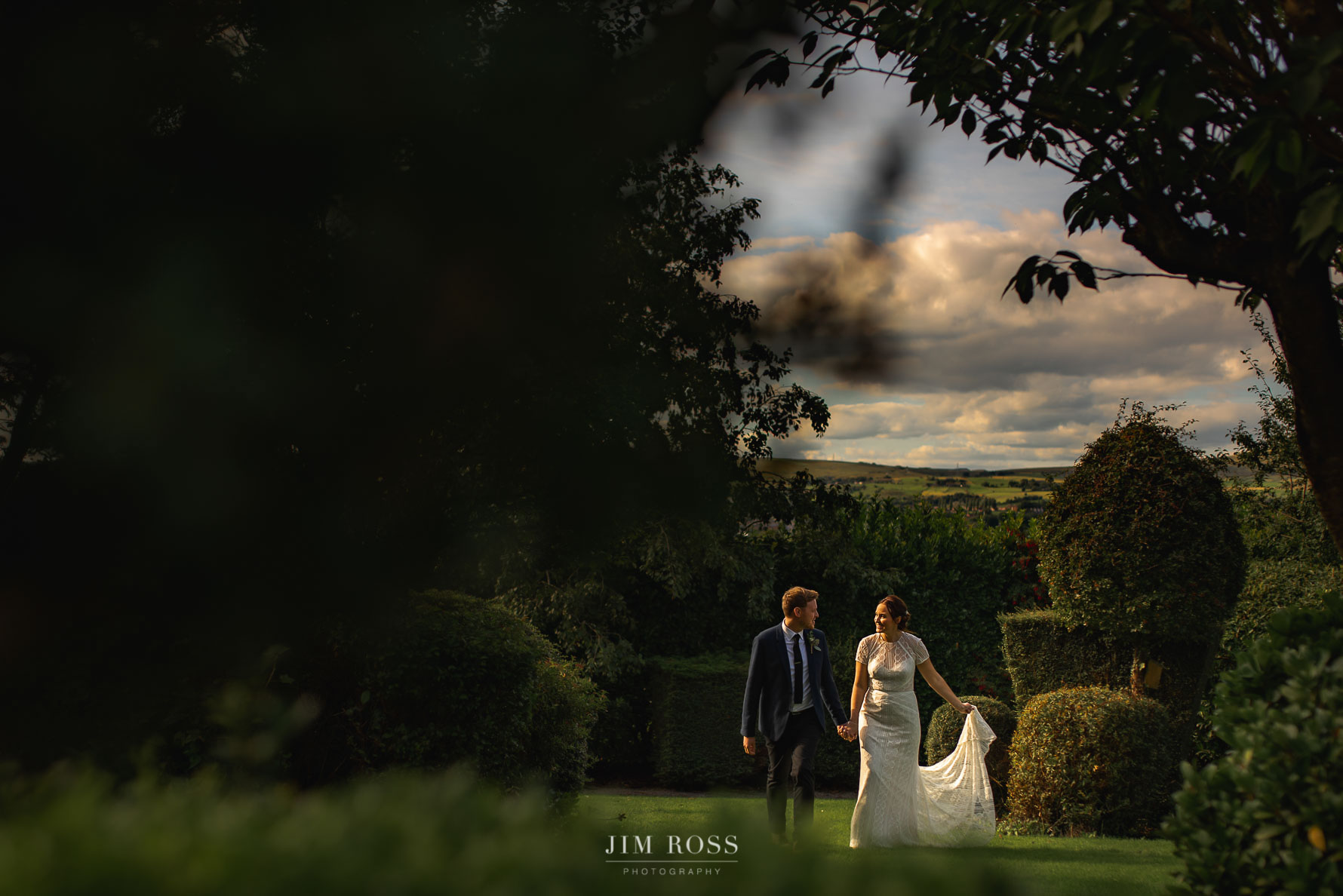 Lancashire countryside wedding portrait
