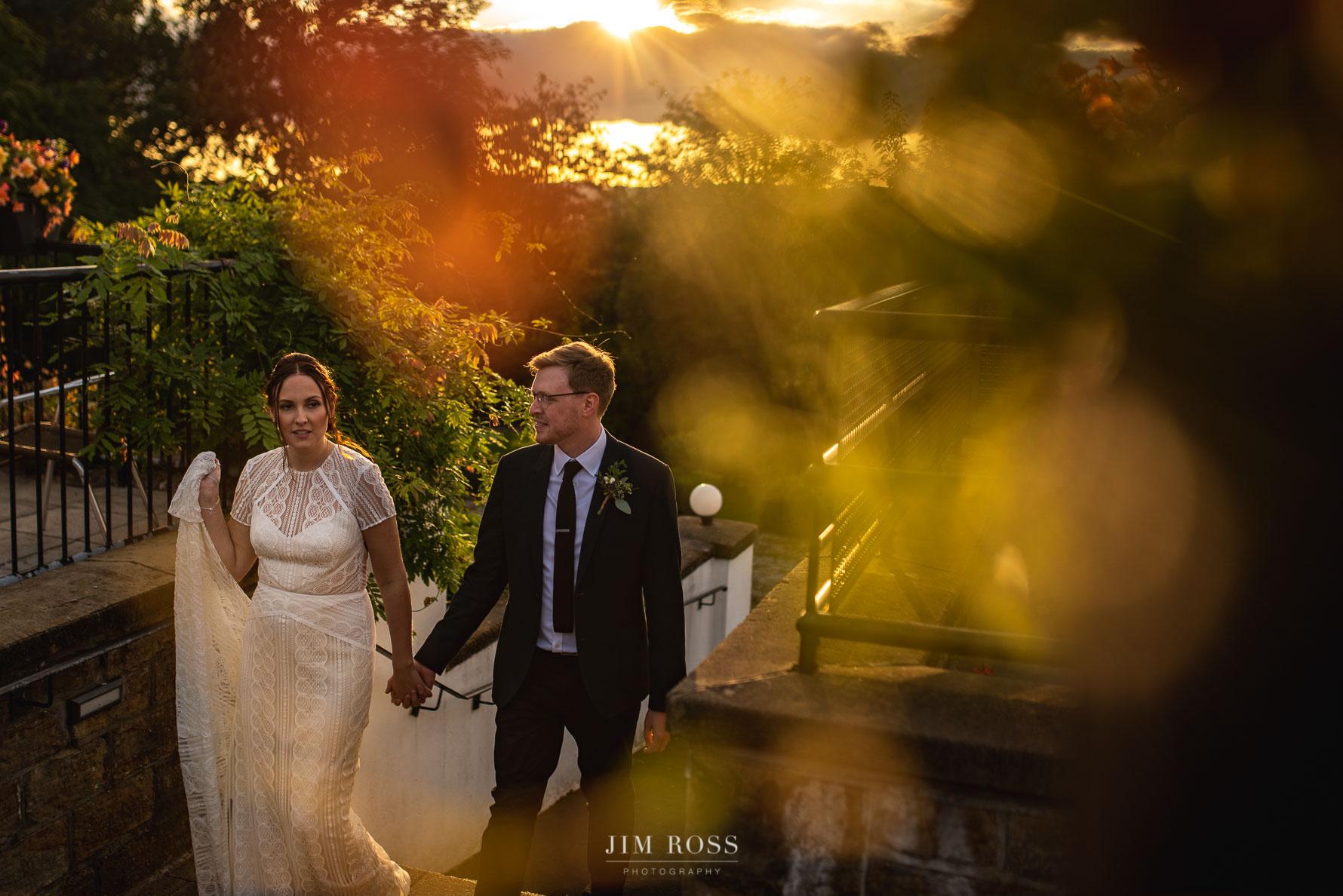 Golden light through Milnrow garden